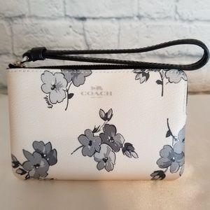 Coach Chalk Fairytale Floral Corner Zip Wristlet
